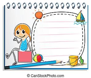 scatola, matita, seduta, immagine, illustrazione, quaderno, fondo, ragazza, bianco