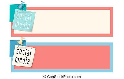 scatola, media, sociale, parole, testo