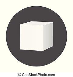scatola, mockup, pacchetto, illustrazione, vettore, lungo, icon., vuoto, bianco, cartone, shadow., 3d