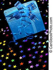 scatola, nero, stelle, regalo