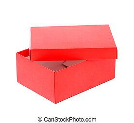 scatola, opend, isolato, scarpa, fondo, bianco rosso