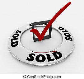 scatola, parola, affare, venduto, illustrazione, marchio, chiuso, assegno, 3d
