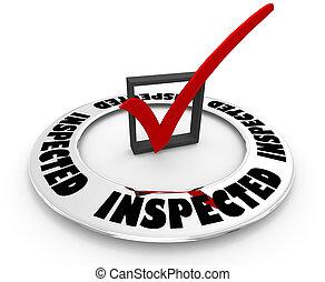 scatola, parola, assegno, illustrazione, marchio, ispezionato, passare, ispezione, approvato, 3d