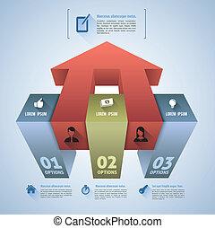 scatola, passo, 3d, infographics