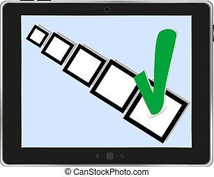 scatola, pc tavoletta, fondo, bianco, assegno