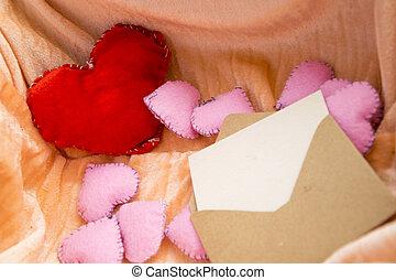 scatola, pieno, amore, concept., valentines, busta, toys., mestiere, lettera, cuori, giorno, scheda