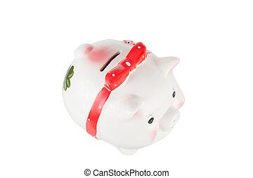 scatola, pig-coin, sfondo bianco