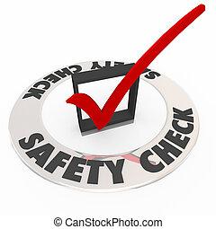scatola, precauzione, assegno, revisione, marchio, sicurezza, sicurezza