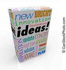 scatola, prodotto, concetto, idee, innovativo, brainstorm, ispirazione
