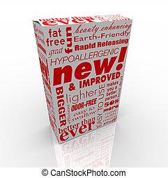 scatola, -, prodotto, migliorato, nuovo