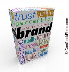 scatola, prodotto, pacchetto, marcare caldo, marca, parole