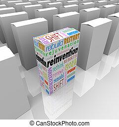 scatola, prodotto, vantaggio, competitivo, uno, reinvention, nuovo, meglio