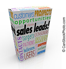 scatola, prodotto, vantaggio, pacchetto, prospettive, vendite, competitivo, piombi, clienti, parole, risultato, nuovo, o, illustrare
