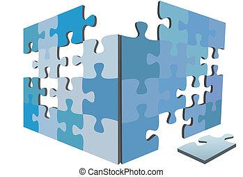 scatola, puzzle, soluzione, igsaw, pezzi, pezzo, lati, 3d