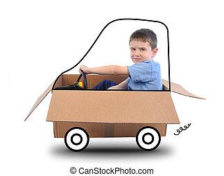 scatola, ragazzo, bianco, guida, automobile