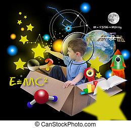 scatola, ragazzo, spazio, scienza, nero, stelle