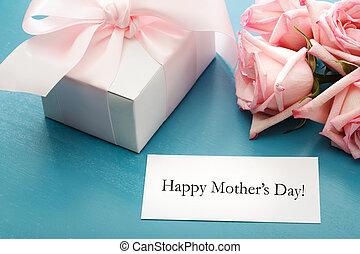 scatola, regalo, madri, rose, giorno, scheda