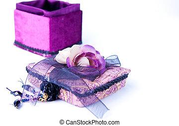 scatola, regalo, viola, rosa, isolated., aperto