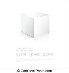 scatola, riflessione., fondo, bianco, cube., 3d