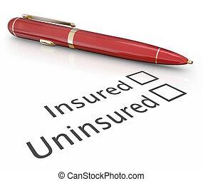 scatola, rischio, controllo, medico, assicurato, penna, vs, copertura, uninsured, assicurazione