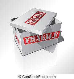 scatola, rosso, 3d, testo