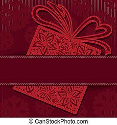 scatola, rosso, regalo