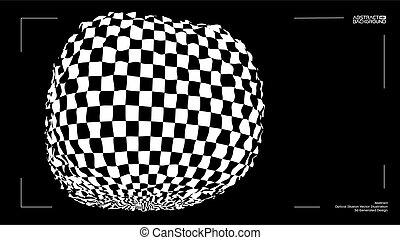 scatola, scacchiera, distorto, illusion., ottico, vettore, struttura, 3d