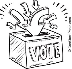 scatola, schizzo, votazione, scheda elettorale