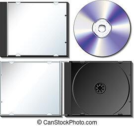 scatola, set, cd