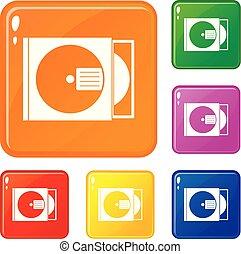 scatola, set, icone, colorare, cd, vettore, disco