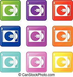 scatola, set, icone, disco cd, 9