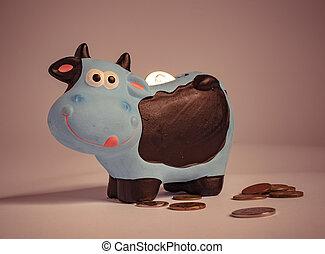 scatola, soldi, cow., forma