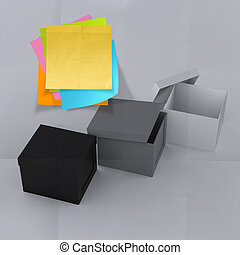 scatola, spiegazzato, concetto, pensare, nota appiccicosa, esterno, carta