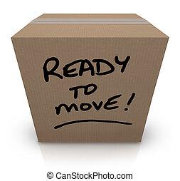 scatola, spostare, riallocazione, spostamento, pronto, cartone