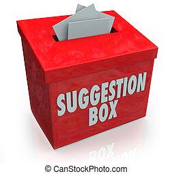 scatola, suggerimento, idee, comments, sottomissione