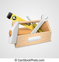 scatola, tools., vettore