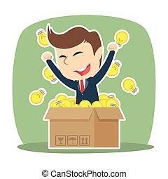 scatola, uomo affari, suo, idee, fuori