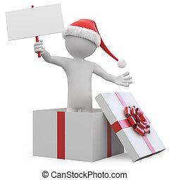 scatola, uomo, regalo, abbandono