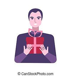 scatola, uomo, regalo