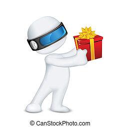 scatola, uomo, vettore, regalo, 3d