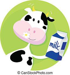 scatola, verde, mucca latte, felice