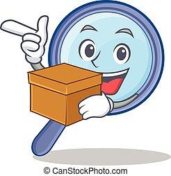scatola, vetro, carattere, ingrandendo, cartone animato