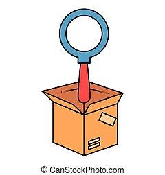 scatola, vetro, imballaggio, cartone, ingrandendo