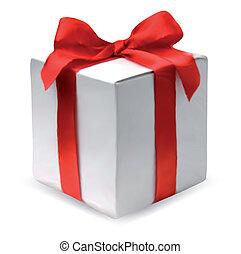 scatola, vettore, presente, bow., rosso