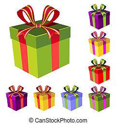 scatola, vettore, set, regalo