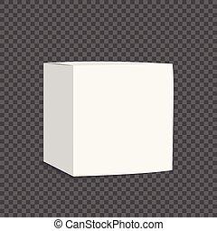 scatola, vuoto, bianco, cartone, icon., 3d