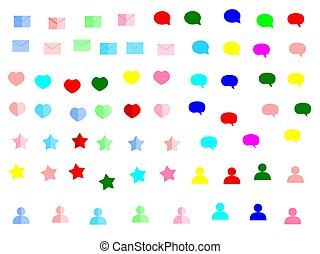 scatola, web, set, stella, cuore, colore, su, illustrazione, vettore, pop, fondo, posta, messaggio, bianco, icona