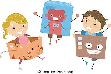 scatole, bambini, gioco