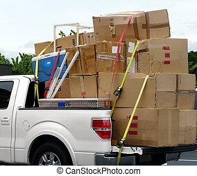 scatole, camion, spostamento