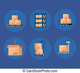 scatole, cartone, set, pacchetti